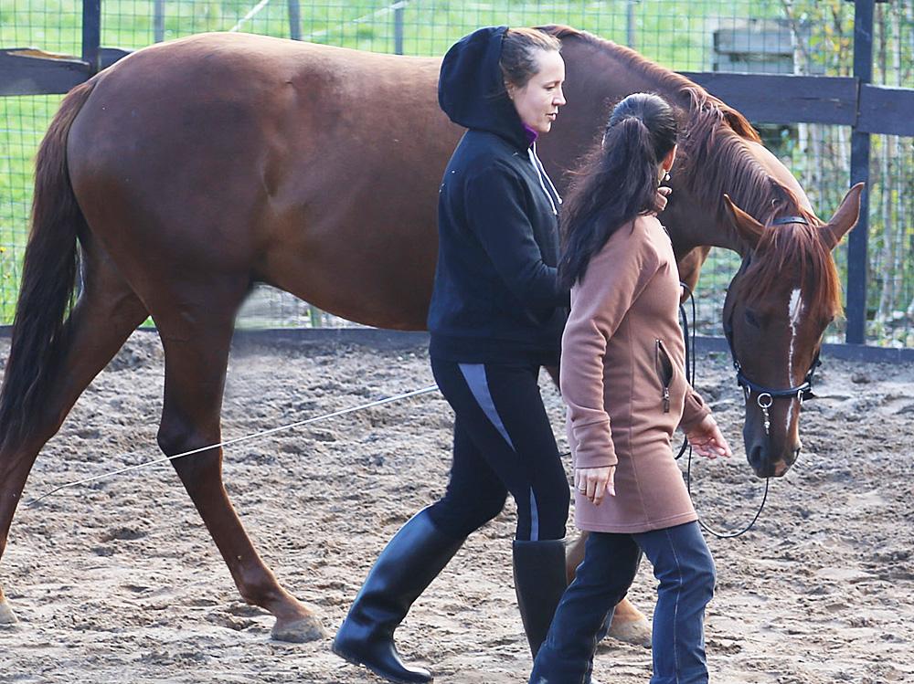 Кэмбридж показывает Оксане, как ощущается на руке, если лошадь сама себя несет на кругу